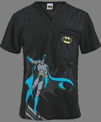 77adc15b70d Cherokee Tooniforms Scrubs The Batman Men's Print Top. Cherokee Tooniforms  Scrubs The Batman Men's Print Top Disney Scrub Tops ...