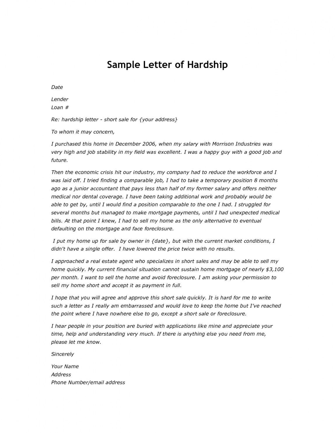 Costum Hardship Letter For Mortgage Modification Template Word In 2021 Lettering Business Newsletter Templates Business Letter Template