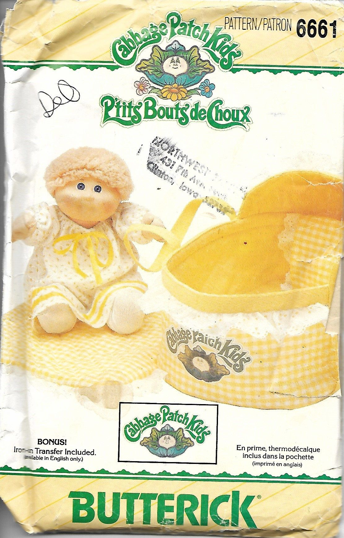 Butterick 6661 Cabbage Patch Kids Sewing Pattern, Doll Bed Carrier ...