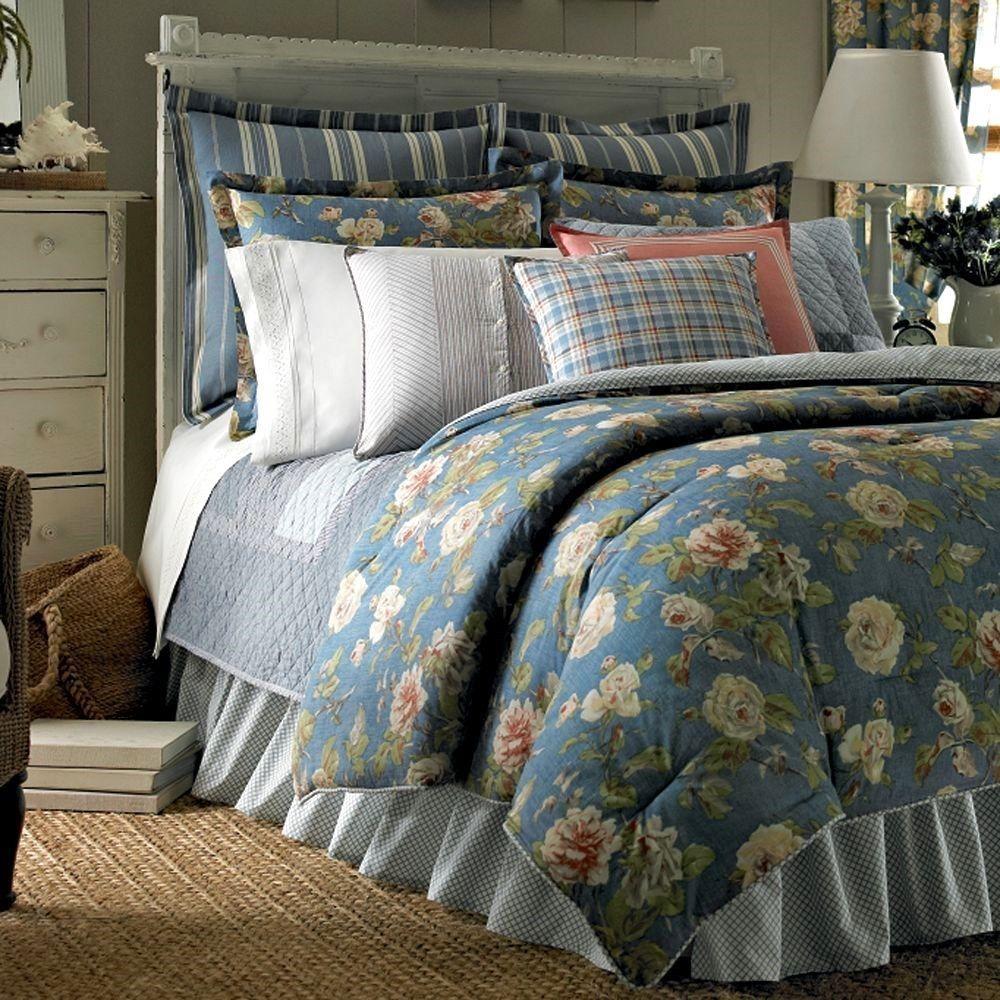 Ralph lauren plaid bedding - Chaps By Ralph Lauren Summer Porch Blue Floral Full Comforter 4pc Set Cottage