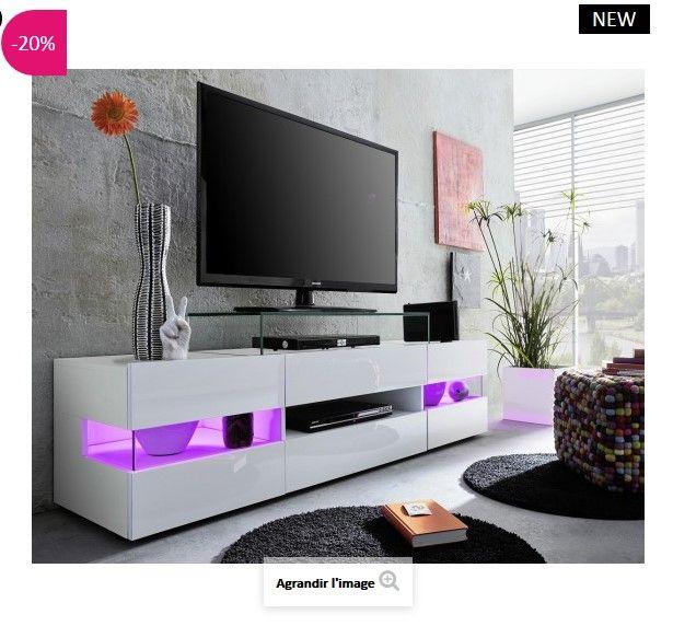 banc tv design led maximilian atylia meubles pas cher. Black Bedroom Furniture Sets. Home Design Ideas