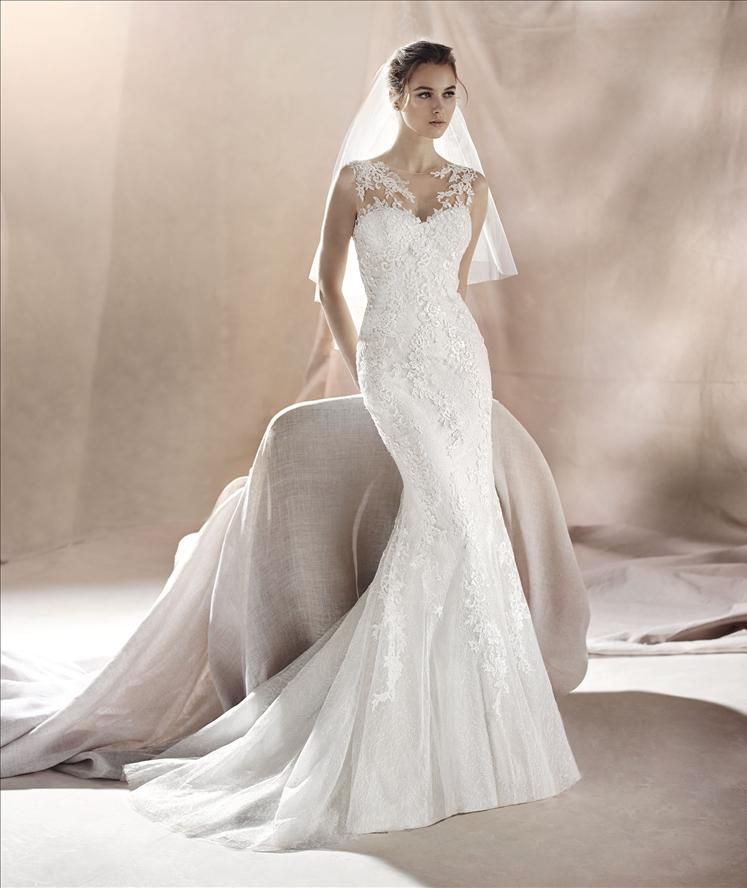 Lace Fit Flare Illusion Pronovias Wedding Dress Destination Wedding Dress Wedding Dresses
