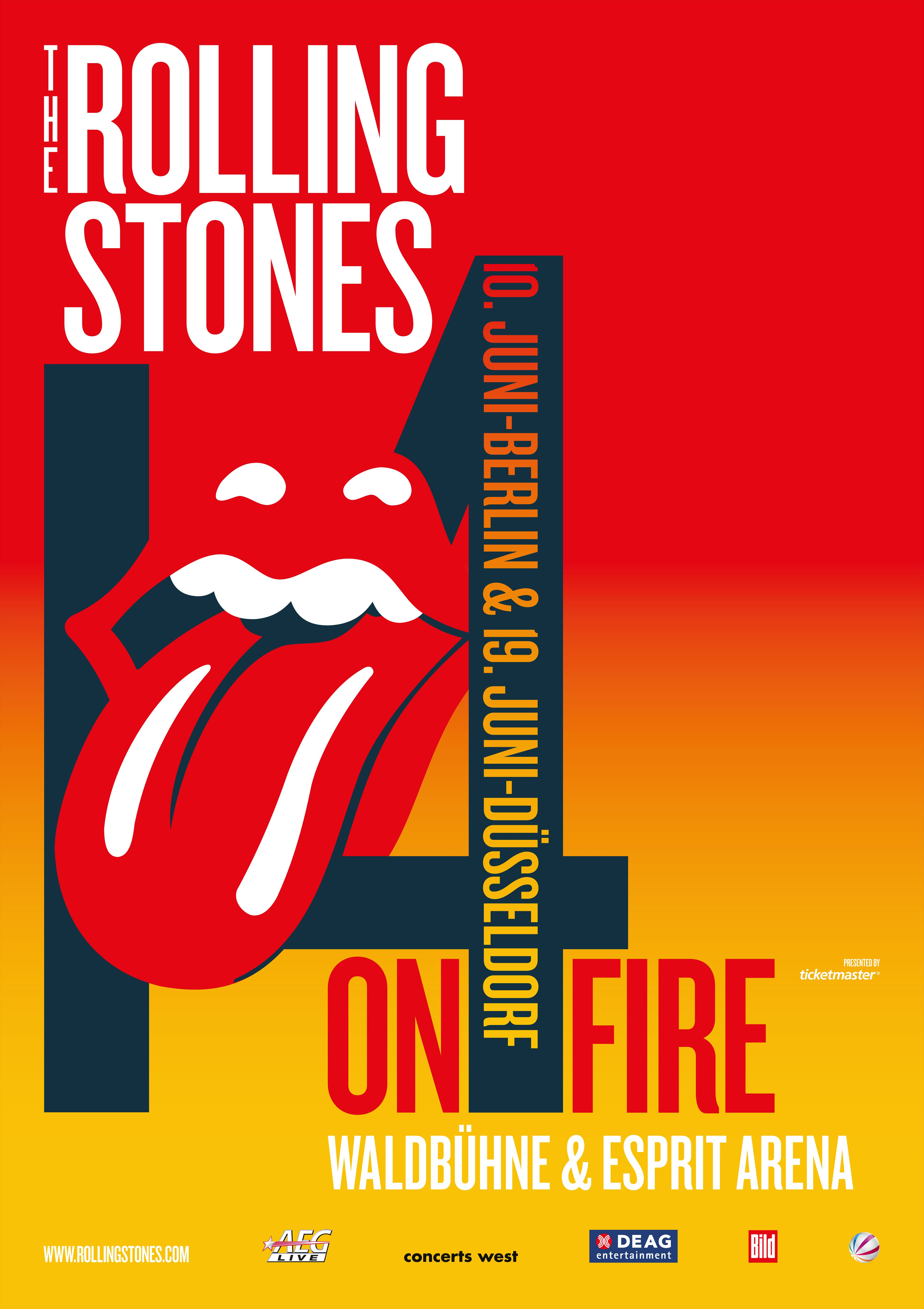 The Rolling Stones On Fire Tour 2014 Poster. Tickets für The Rolling Stones bei Ticketmaster unter http://www.ticketmaster.de/artist/the-rolling-stones-tickets/2139