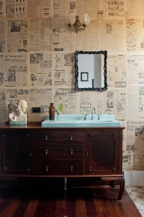 bathroom, newsprint