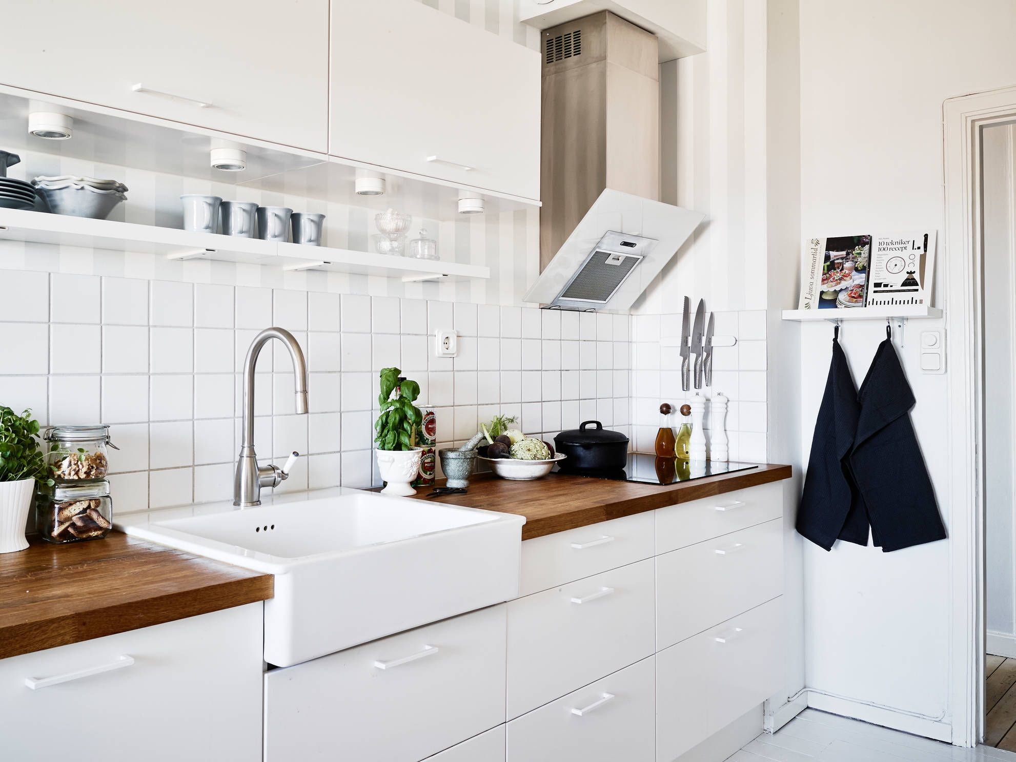 White Kitchen With Wooden Bench Top Large Sink