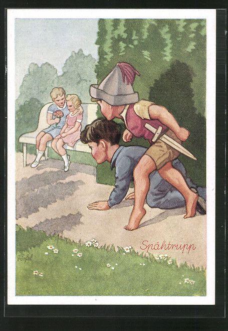 carte postale ancienne: CPA Illustrateur Dörfel: Knaben beobachten ein Liebespaar