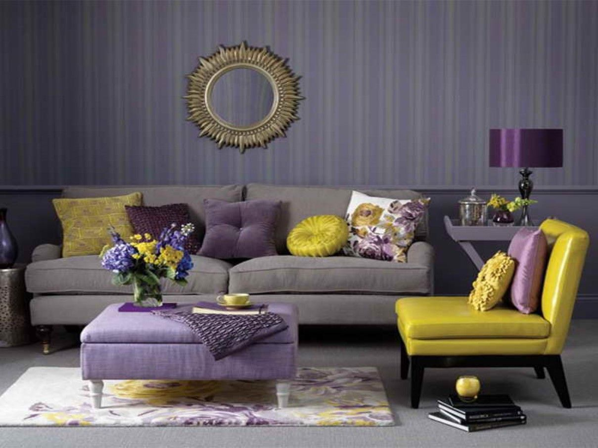 Charming Decorative Wall Mirror Design With Purple Ottoman Coffee Table Feat Trendy  Yellow Living Room Accent Chair Plus Rectangular Rug Adorable Room Idea For  Any ...