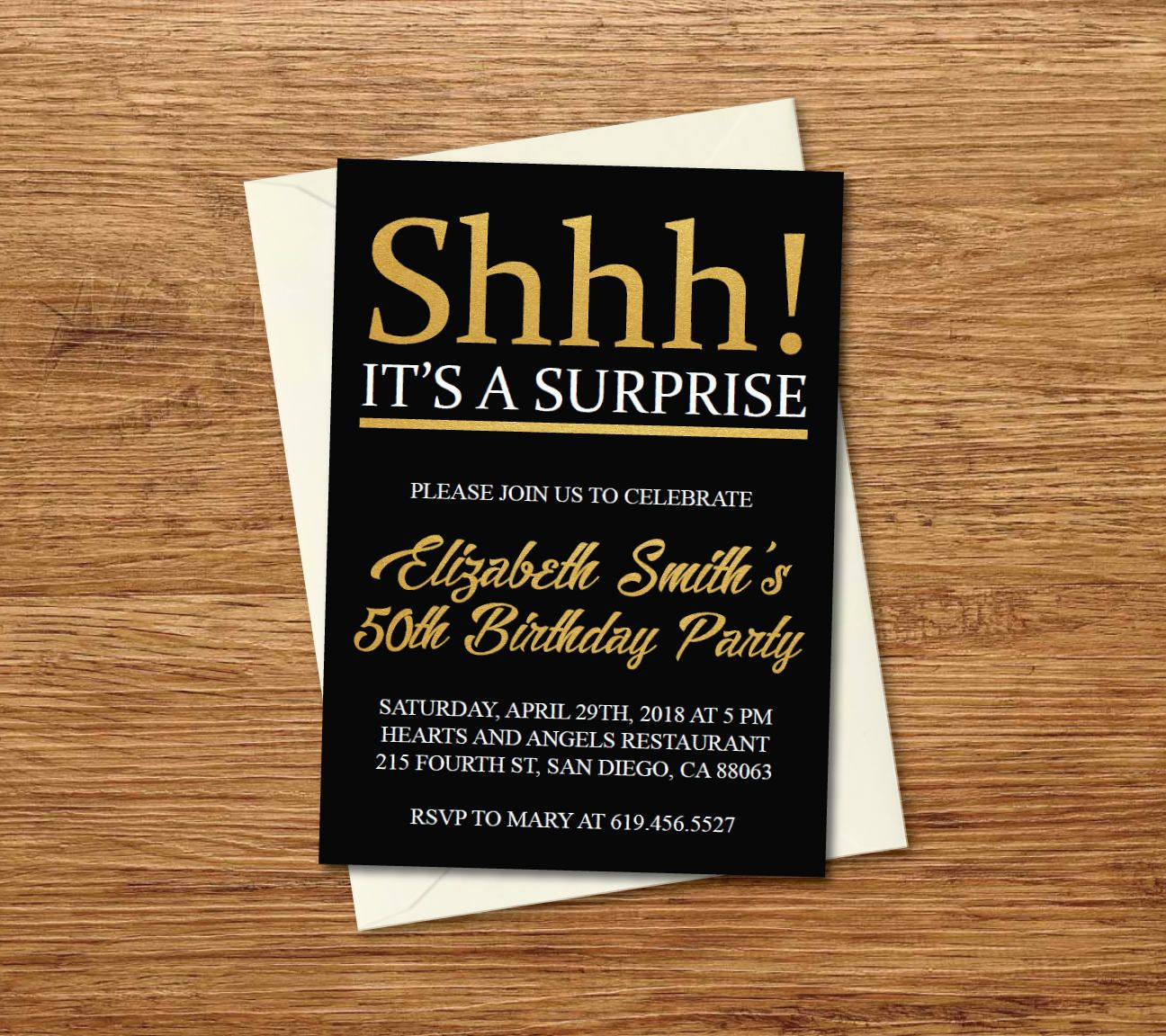 Shhh Its A Surprise Birthday Invitation Printable Gold Black E Card Template By BlessedDayPaper On