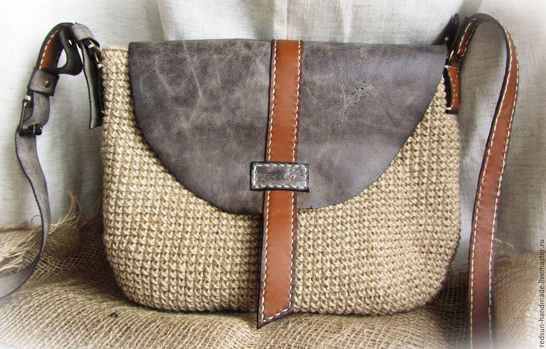 c96ba74cd862 Купить Сумка джутовая Корзинка - бежевый, серый, сумка ручной работы, сумка  через плечо