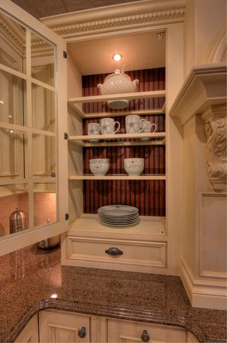 Wood Frame Gl Shelves Two Tone Beadboard Back By Elmwood Fine Custom Cabinetry