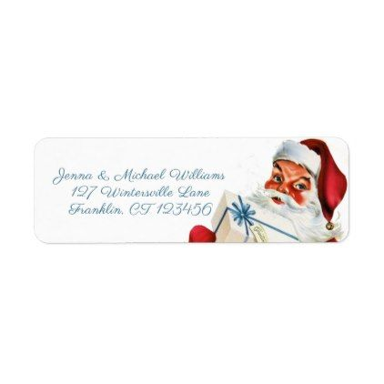 Merry Christmas Retro Santa Claus Label Return address - free christmas return address labels template
