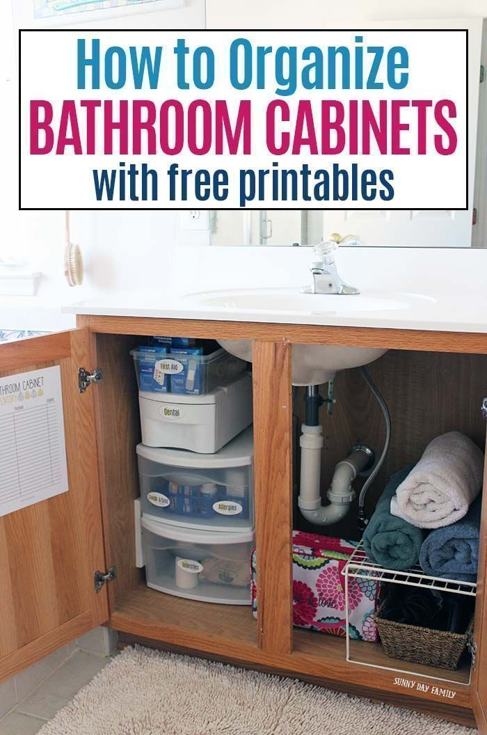 Learn how to organize bathroom cabinets the easy way with free printables! Get your bathroom organized with medicine cabinet labels and a printable inventory sheet. Organize your medicines, organize beauty products and organize toiletries with free printable bathroom labels. #ad #FLCareOne #organize #bathroomcleaning #declutter #organized #labels #HowToOrganizeMasterBathroomCabinets #organizemedicinecabinets Learn how to organize bathroom cabinets the easy way with free printables! Get your bath #organizemedicinecabinets