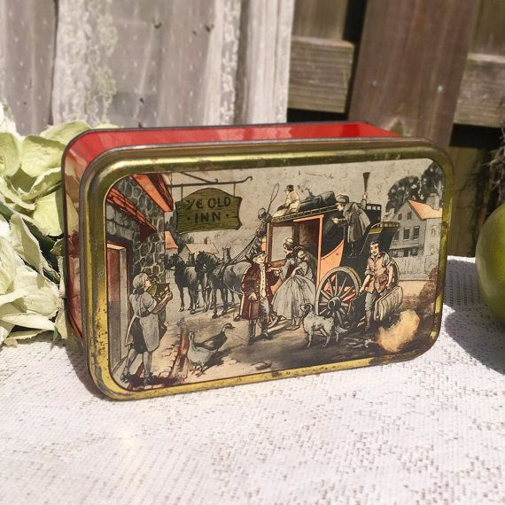 Antique Decorative Ye Old Inn Carriage Tin Box Litho Stagecoach Storage Caddy Ilration 18th