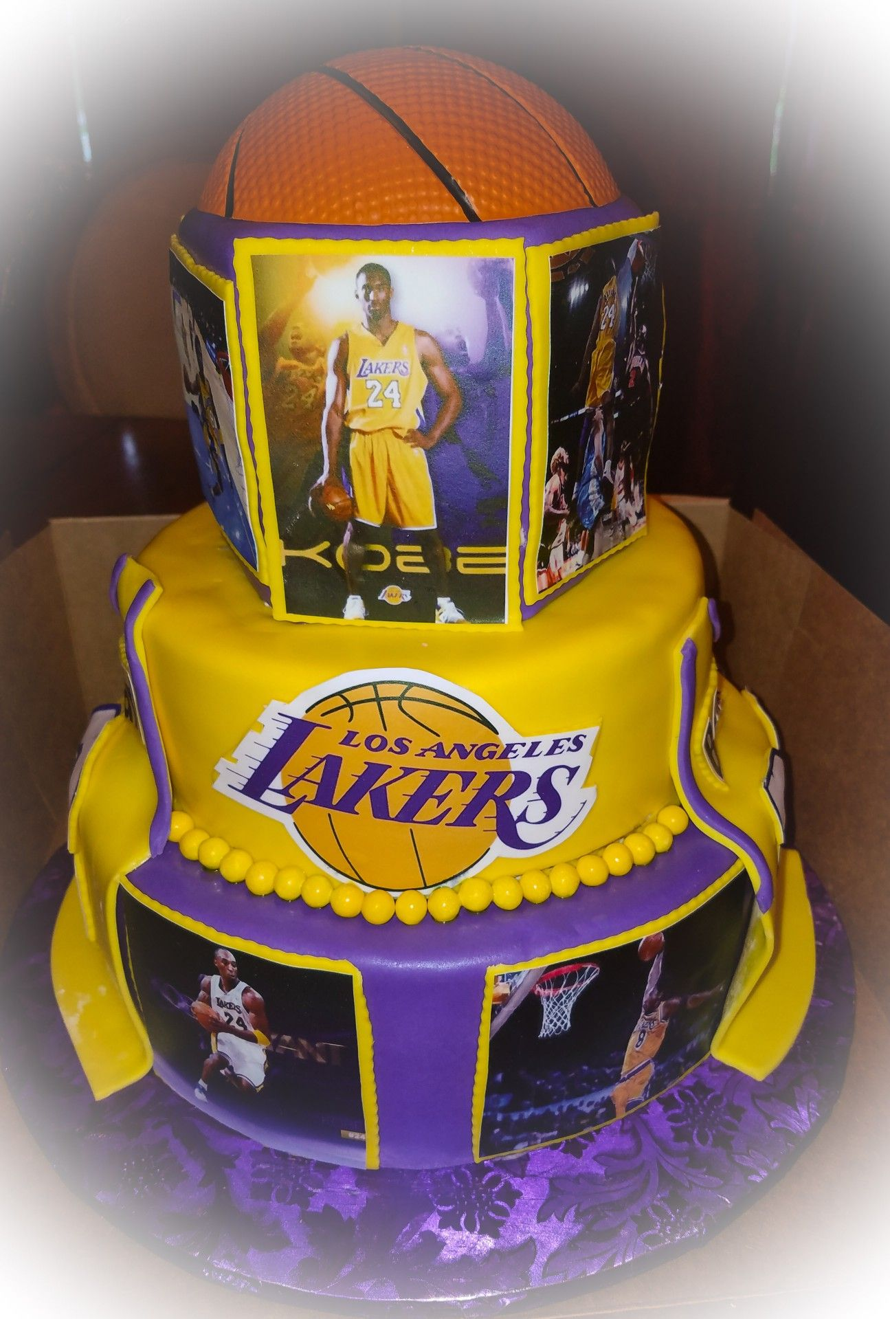 Groovy Kobe Lakers Cake Birthday Surprise Party Basketball Theme Funny Birthday Cards Online Sheoxdamsfinfo