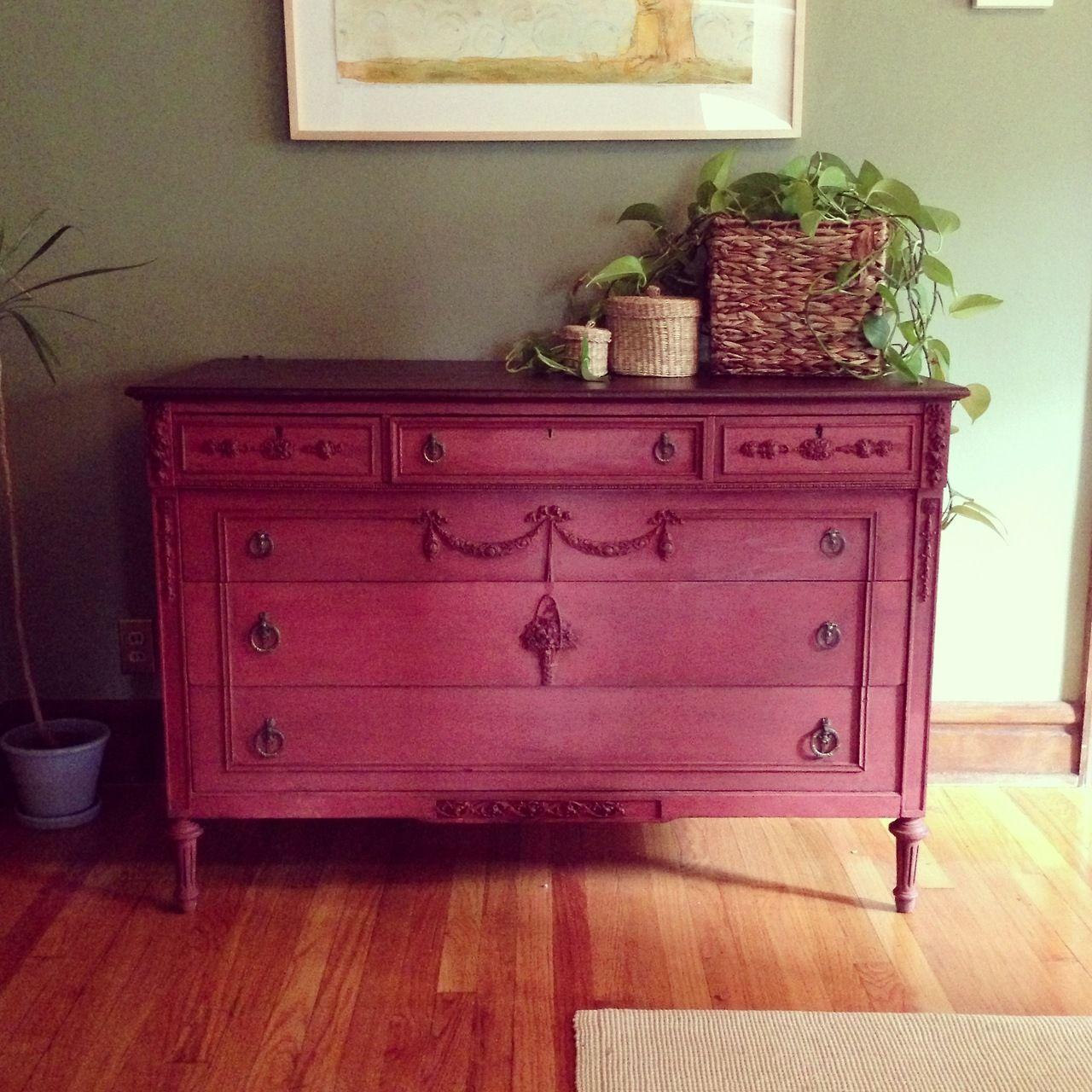 Say Hi To Big Red Antique Dresser Refinished In Salem Milk