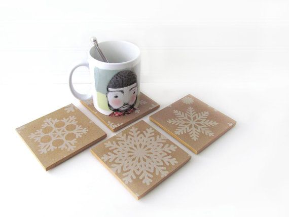 Rustic Snowflake Wood Drink Coasters S/4 Rustic By WalterSilva Nice Ideas