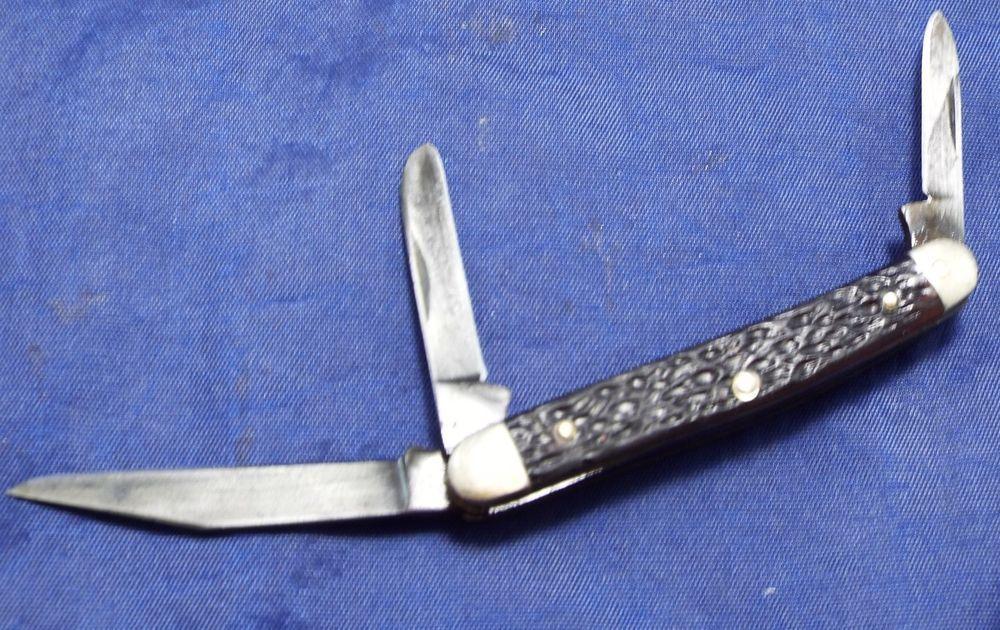 Vintage Boker Usa Carbon Steel 3 Bladed 8388 Folding