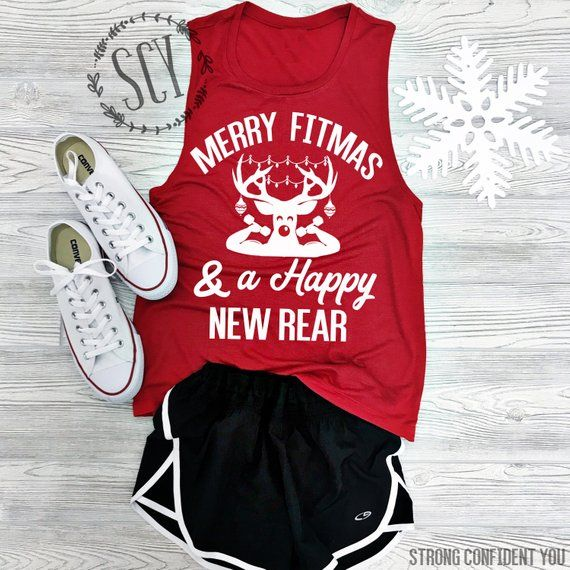 Christmas Workout Tanks Merry Fitmas and a Happy New Rear Royaltee Shirts