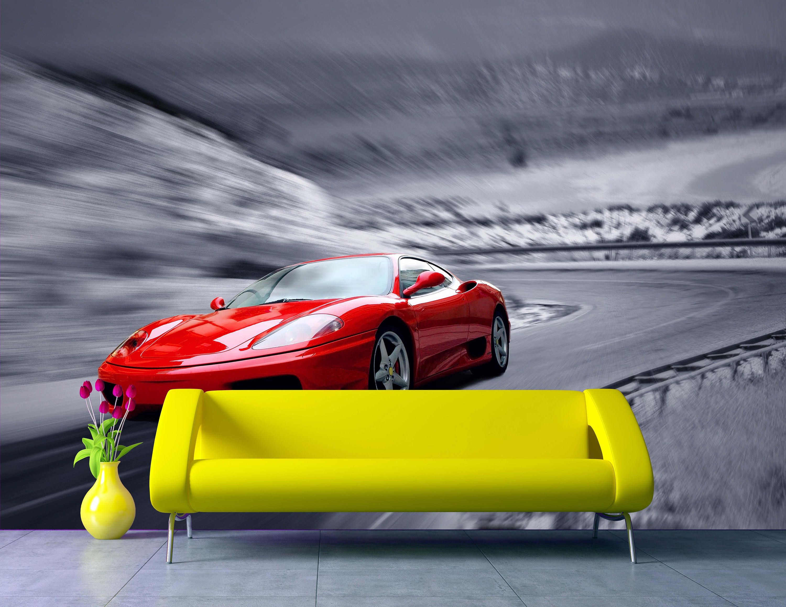 Removable Wallpaper Mural Peel & Stick Red Sport Car By
