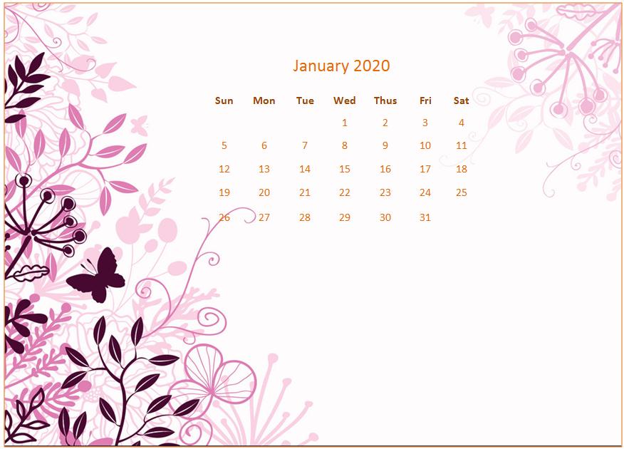 January 2020 Calendar Desktop Wallpaper Calendar