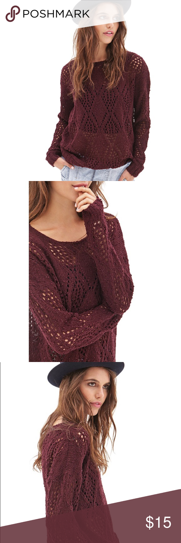Burgundy Sweater New! Super cute with bralette. Forever 21 ...