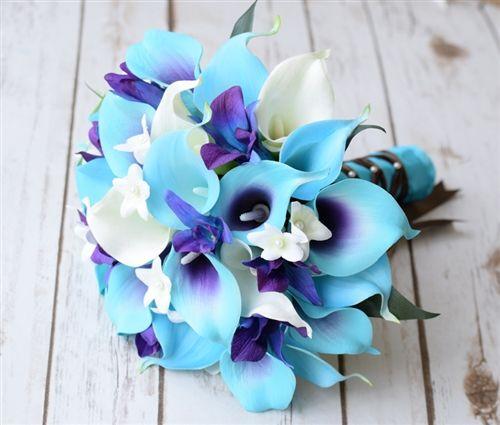 Silk wedding bouquet Natural Touch Turquoise Blue Purple Ivory Calla Lilies Bridesmaid Bouquet
