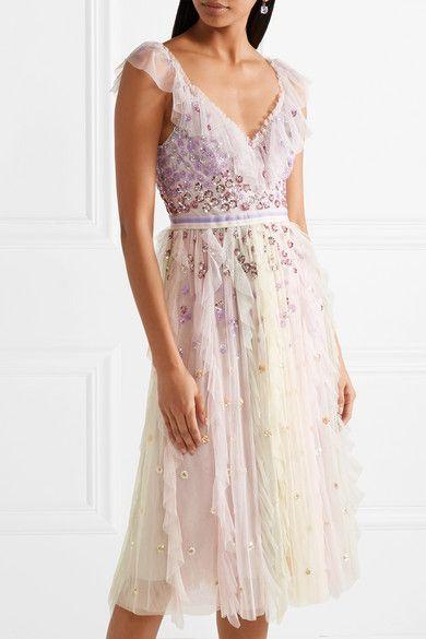 22dcd88584f0 Needle & Thread   Rainbow embellished ruffled tulle midi dress    NET-A-PORTER.COM