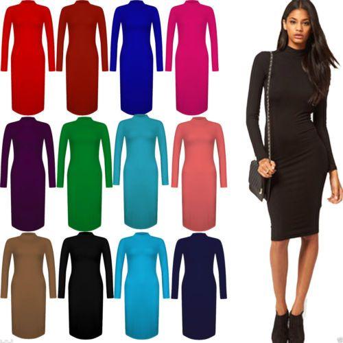New Women/'s Ladies Polo Turtle Neck Long Sleeve Plain Stretch Bodycon Midi Dress