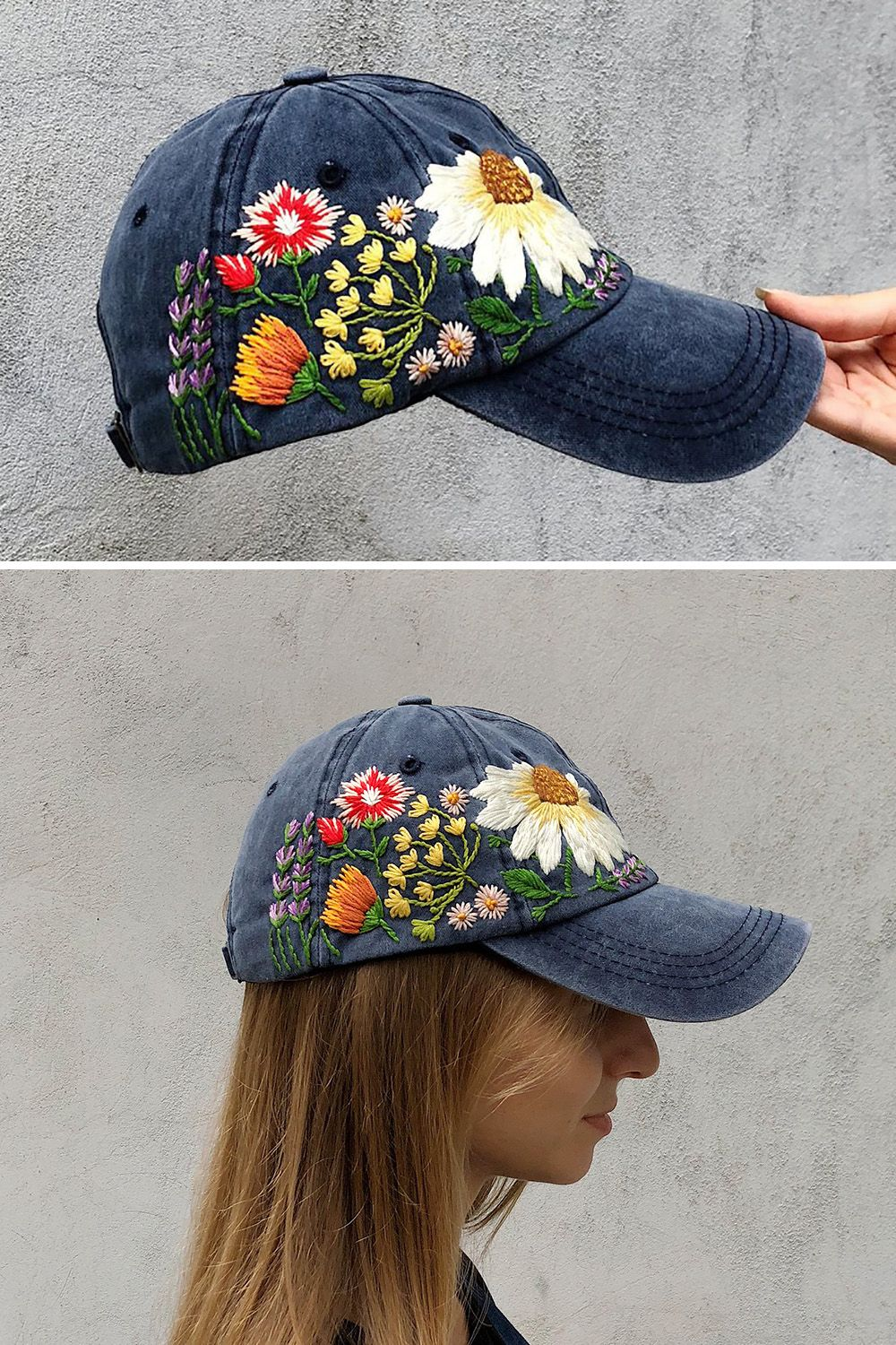 319f0aa4a6d90 No spring outfit is complete without a hand-embroidered floral baseball hat.  It s the easy outfit accessory for any spring look.