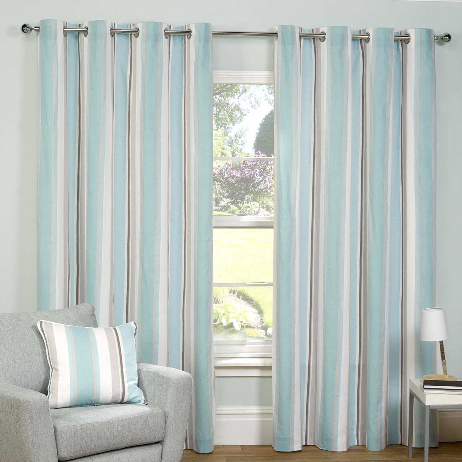 Brighten Up Your Home With This Lidstone Stripe Sea Blue 90X90 Eyelet. Its  Calming Sea