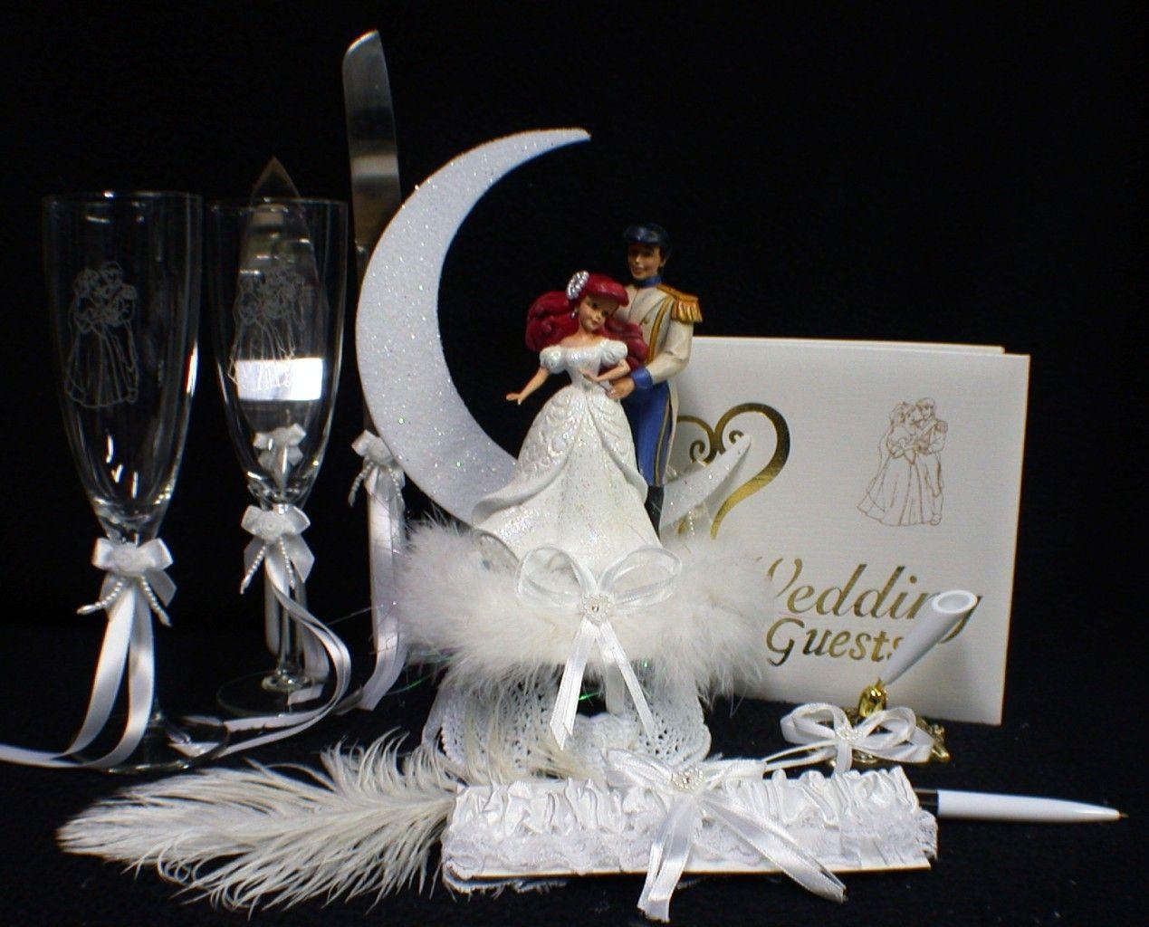 disney little mermaid wedding cake topper lot glasses knife server guest book pen holder garter