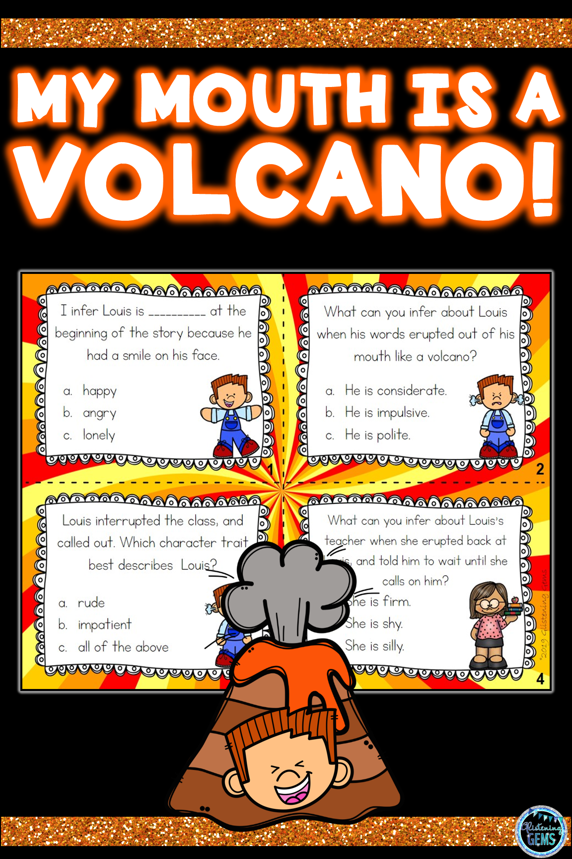 My Mouth Is A Volcano Character Traits Task Cards