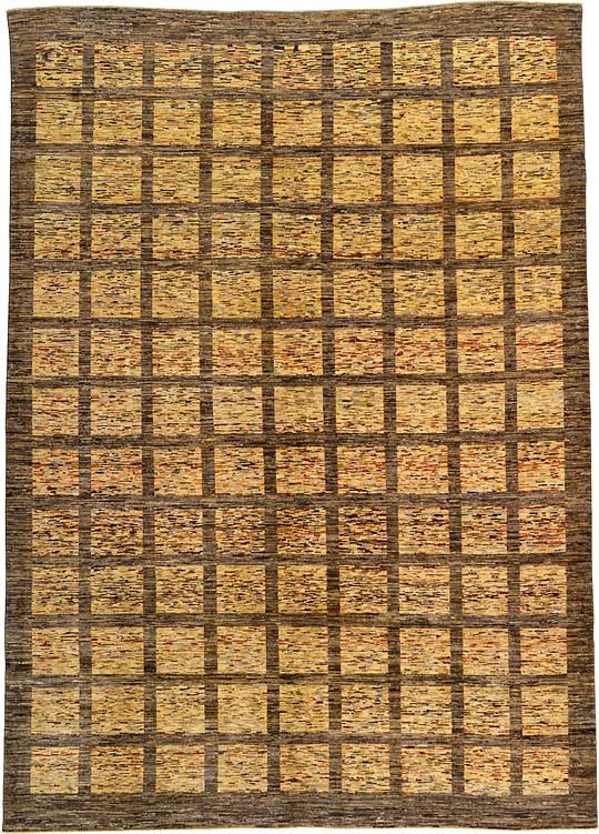 Brown Checkered Modern Ziegler Area Rug 8X11 9x12 area
