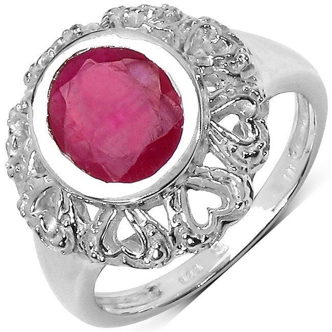 Malaika Sterling Silver 3 1/2ct Ruby Ring (Size-8, Pink), Women's, Size: 8