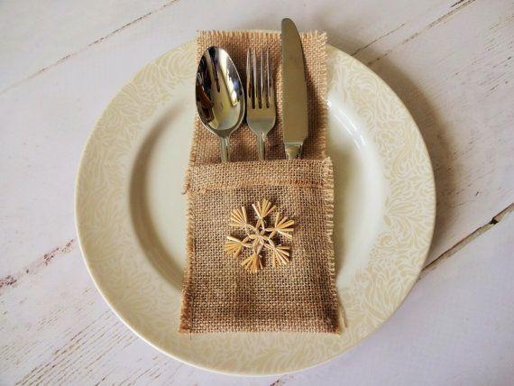 Christmas Jute Pocket Rustic Wedding Table by GracesLacesWedding