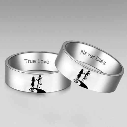 The Nightmare Before Christmas Inspired Jack And Sally Ring His And Hers His And Hers Rings Nightmare Before Christmas Rings Nightmare Before Christmas Wedding