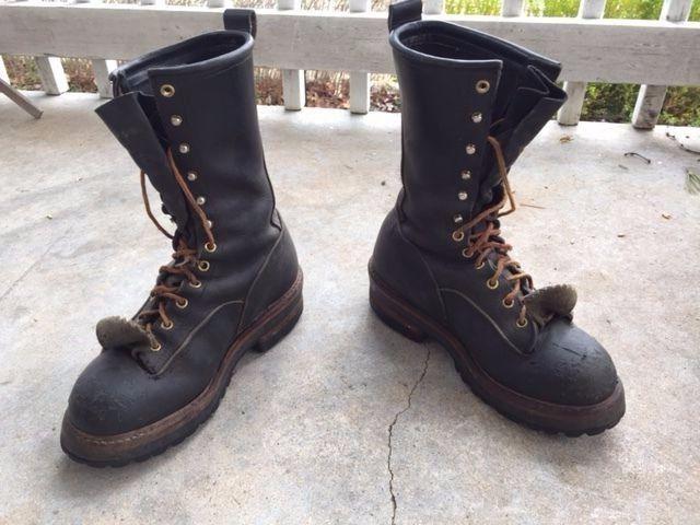 Pole Climber Dual Steel Shank Climbing Lineman Boots Size 7d Hoffman Worksafety