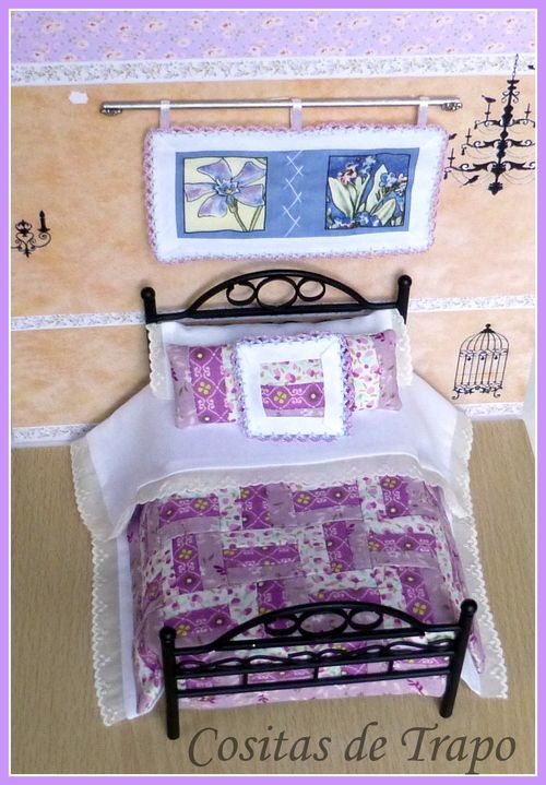 Sulay Parapar, Cositas De Trapo - patchwork quilt with matching pillows