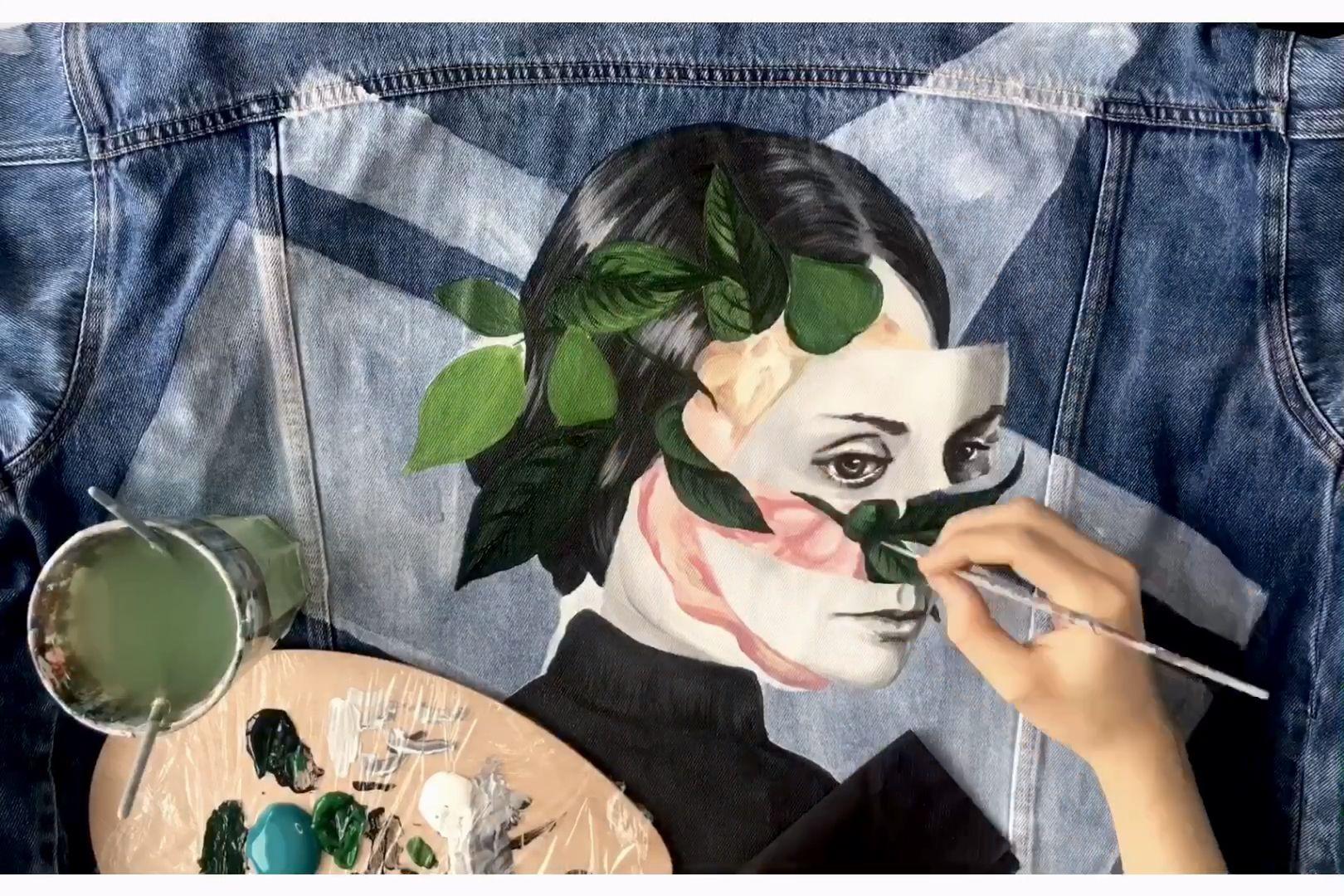 Painting custom jeans jacket Flowers