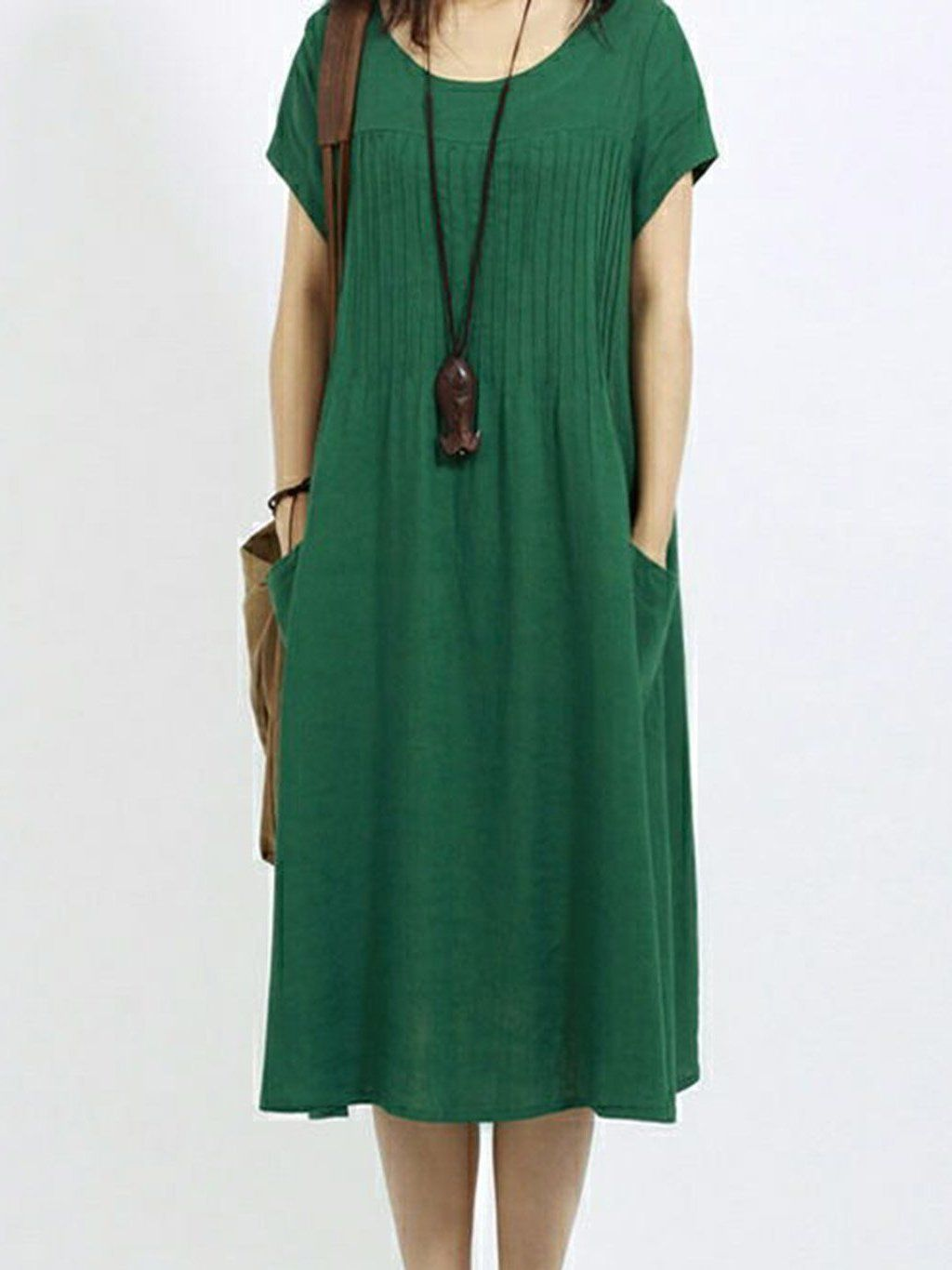 0c480c53e92 Shop Dresses - minachic Shirt Dress Casual Dresses Daytime Shift Crew Neck  Short Sleeve Pockets Casual