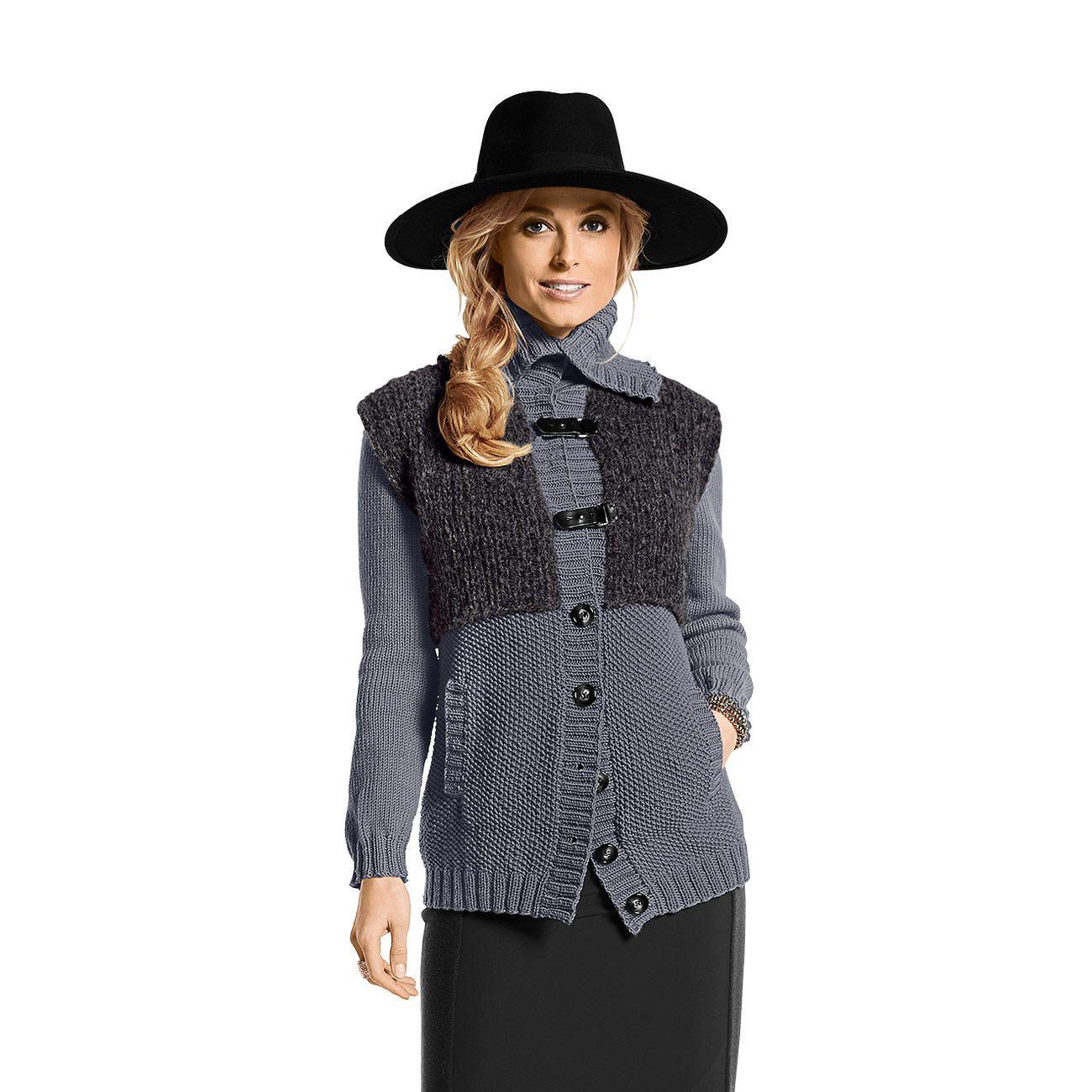 Modell 208/4, Jacke aus Merino-Extrafein und Fluffetto von Junghans-Wolle