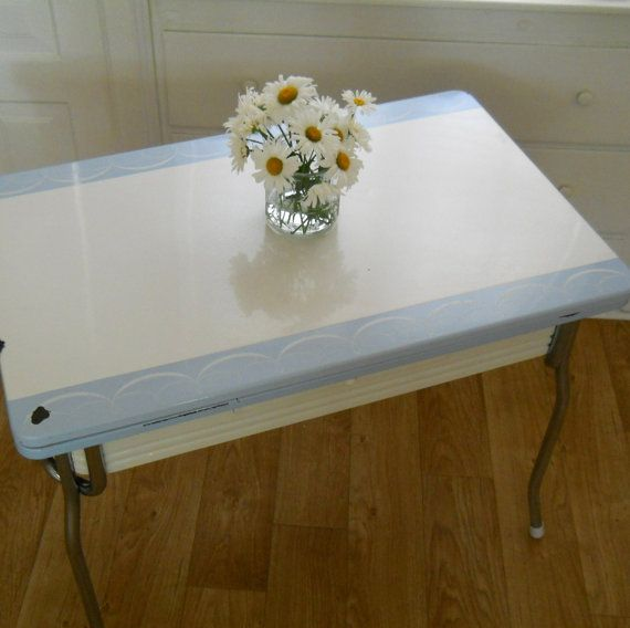 Pale Blue And White All Metal Vintage Enamel Top Table Etsy Vintage Kitchen Table Vintage Table Cozy House