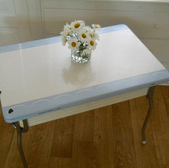 pale blue and white all metal vintage enamel top table vintage rh pinterest com Tin Top Kitchen Table 1950 Enamel Tables