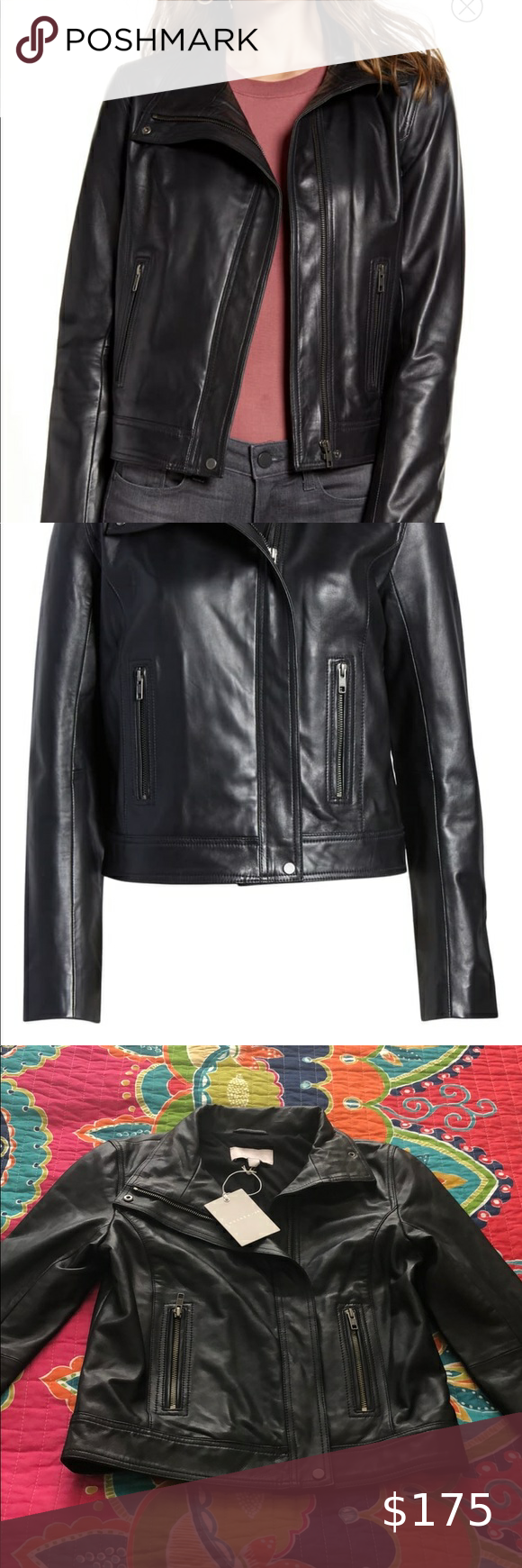 Chelsea 28 Stand Collar Leather Jacket Nwt Size Xs In 2020 Collar Leather Jacket Leather Jacket Jackets [ 1740 x 580 Pixel ]
