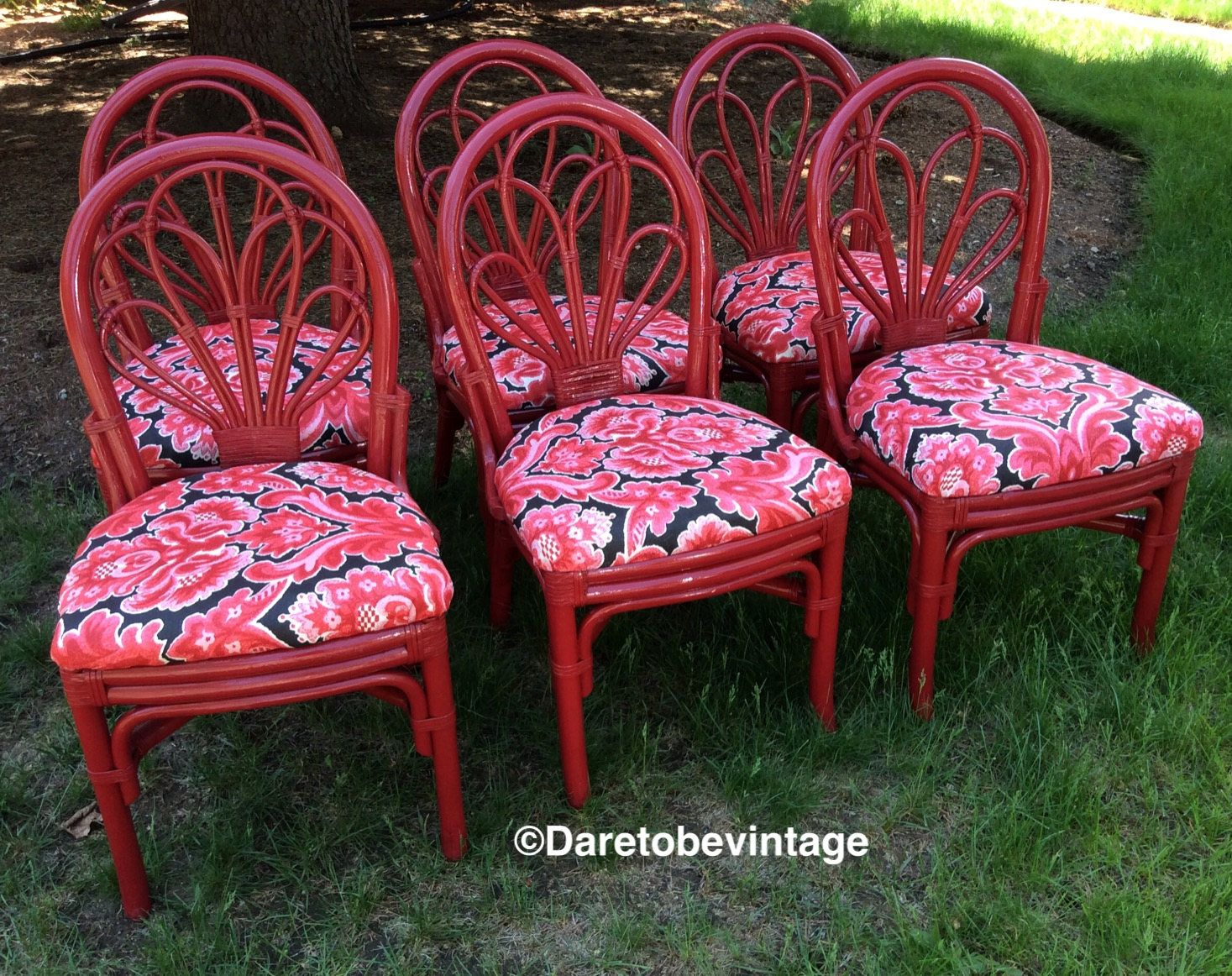 bamboo rattan chairs. HOLD Six Vintage Bamboo Rattan Dining Chairs - Mid Century Wicker Hollywood Regency Bohemian