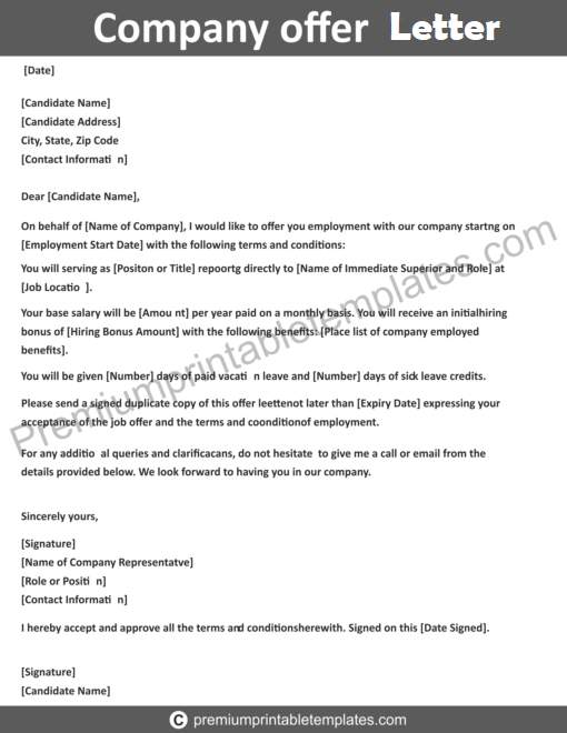 Company Offer Letter Editable PDF in 2020 Lettering