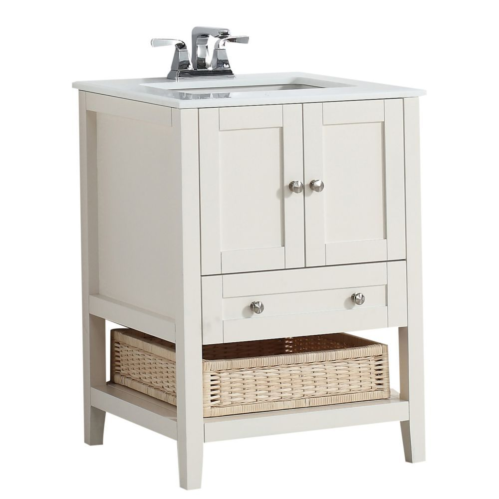 Cape Cod 24 Inch W Vanity In Soft White Finish With Quartz Marble Top