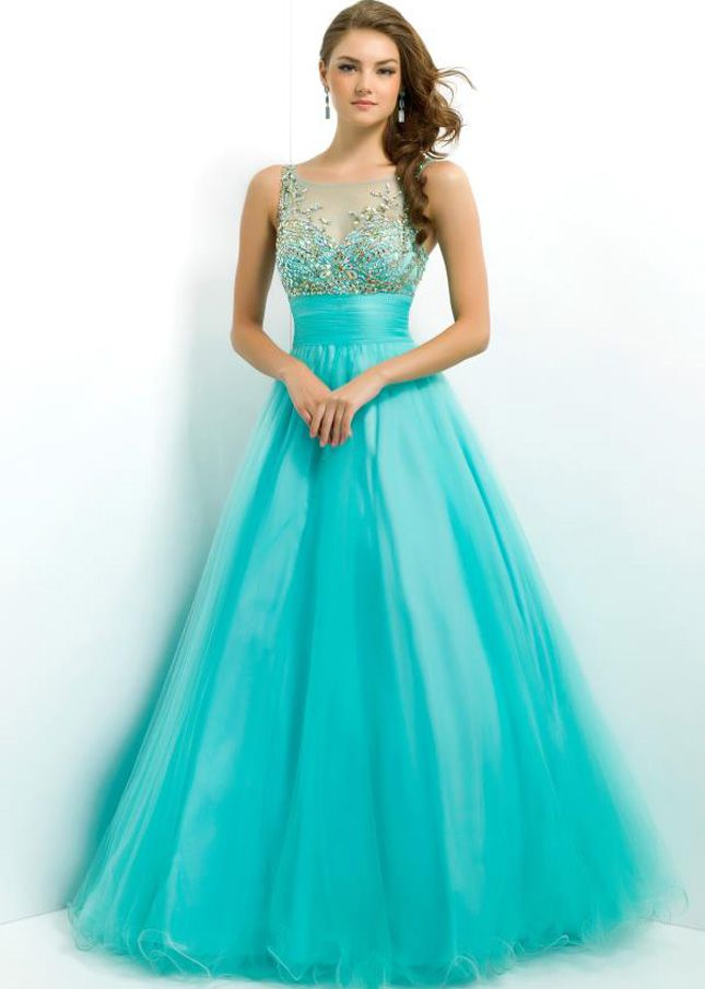 Aqua Gold Blush 5325 Sheer Straps Pleated Waist Ball Gown Prom ...