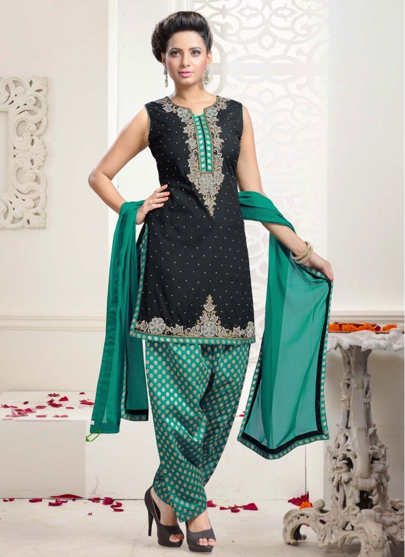 Silk Lace Black and Sea Green Trendy Punjabi Suit | Fabulous Fashion ...