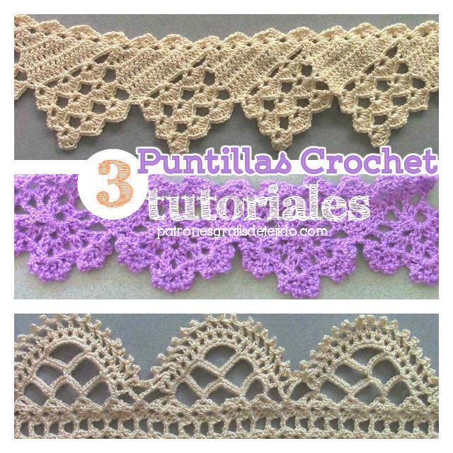 3 tutoriales de puntillas para tejer al crochet crochet - Hacer puntillas de ganchillo ...